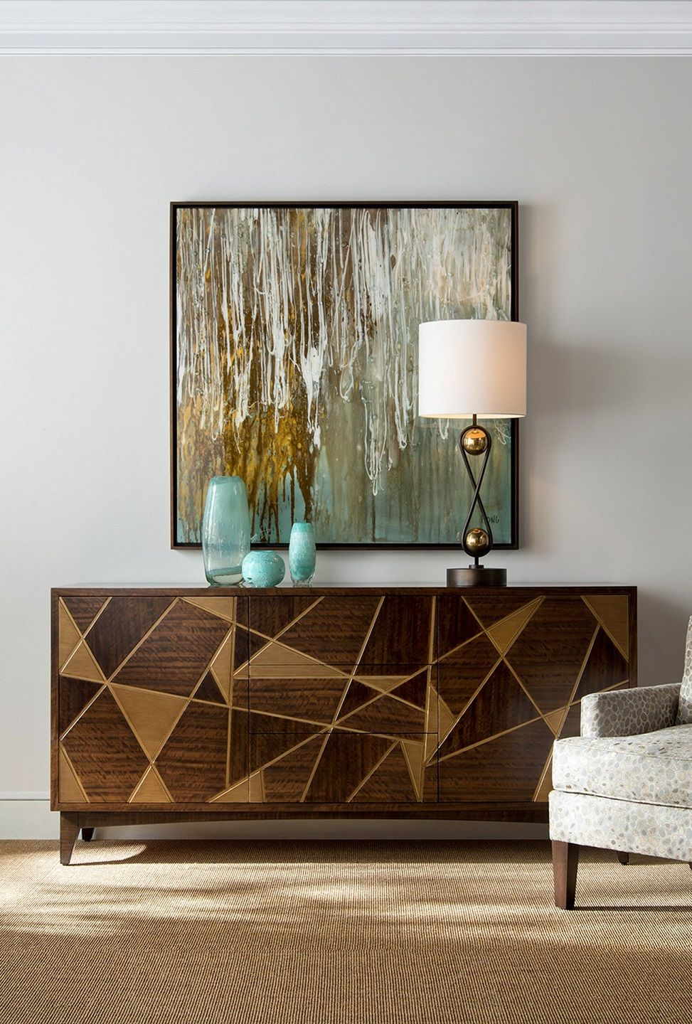 Limited production design stock grand mid century eucalyptus sideboard abstract triangular art design inc 2 cupboards with shelving 3 central