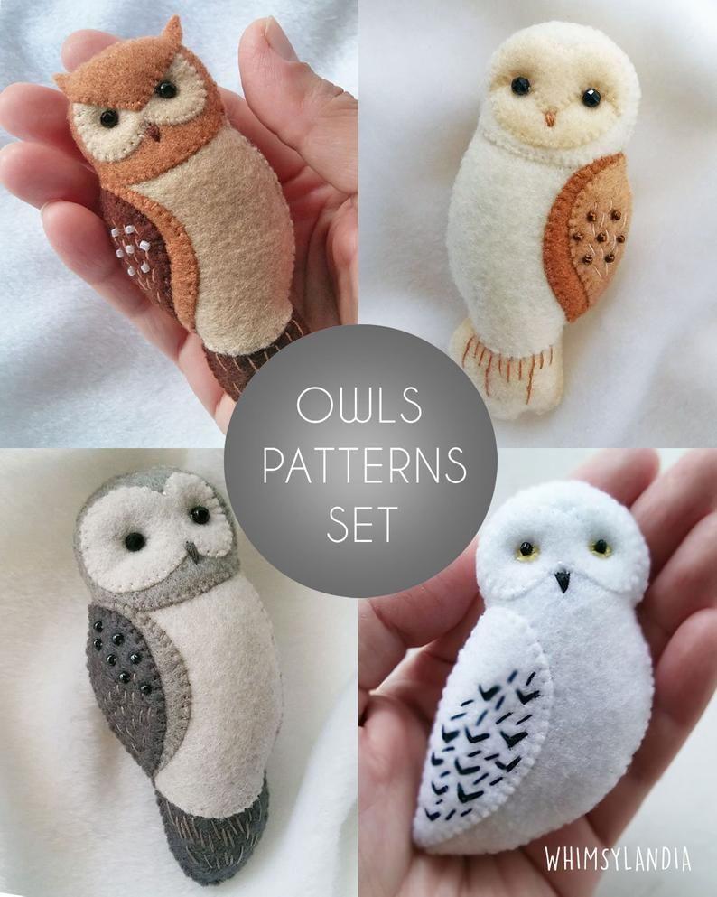 Buy 3 Get 1 Free Owl Brooch Ornaments Soft Toy Pdf Patterns Tutorial Set Felt Animals Owl Gifts Sewing Patterns Set Baby Crib Mobile Felt Crafts Patterns Felt Crafts Handmade Gifts For Friends