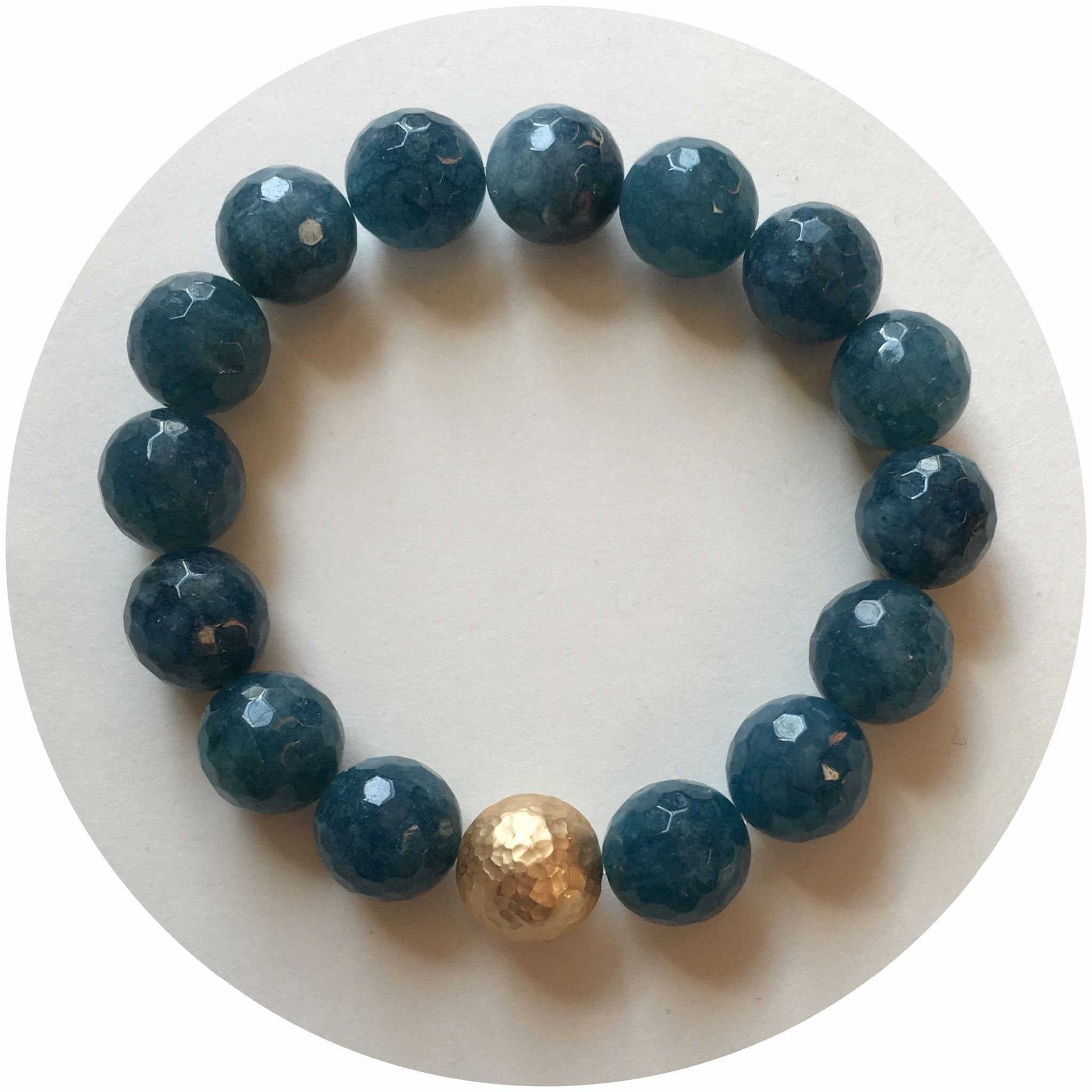 Teal Jade with Gold Hammered Accent