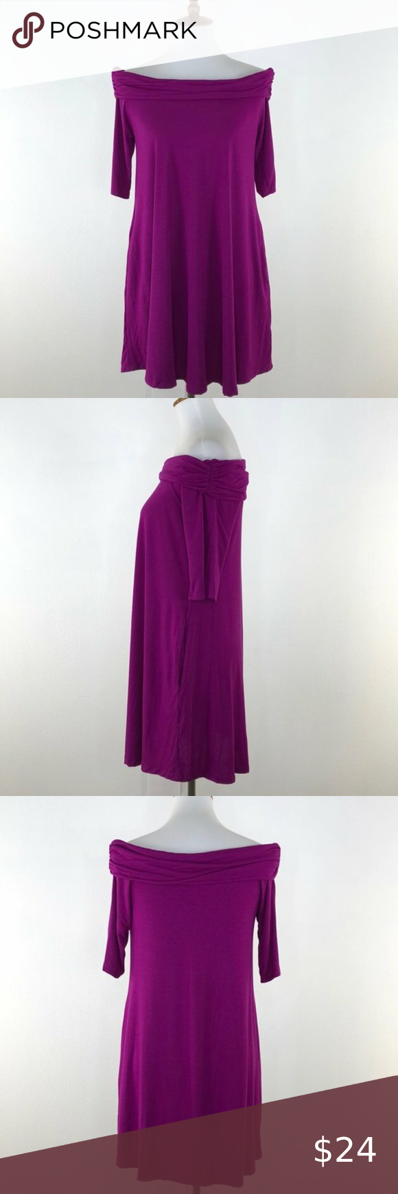 Mitto Shop Purple Off the Shoulder Swing Dress NWT