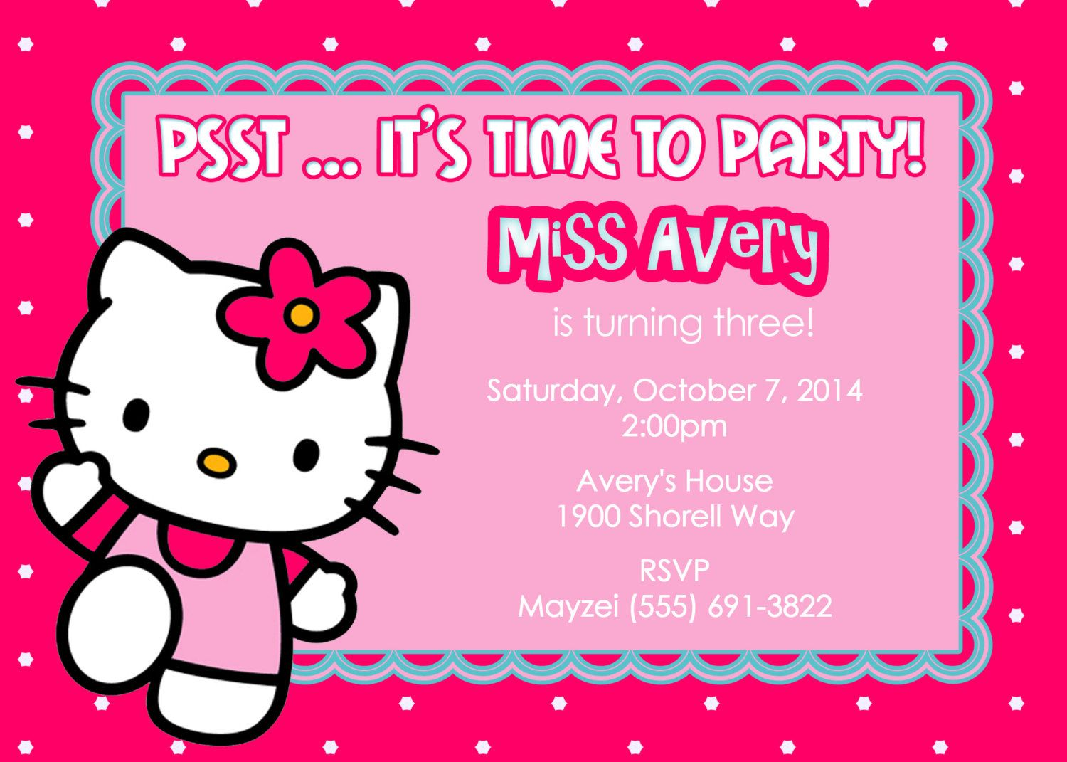 Printable Hello Kitty Party Invitation Template Customized Printable Sanrio Invita Hello Kitty Invitations Hello Kitty Birthday Birthday Card Template Free