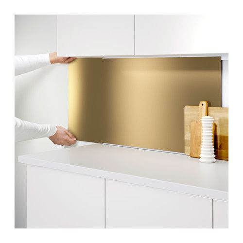 LYSEKIL Wall panel Double sided brass-colour\/stainless steel - wandpaneele kunststoff küche