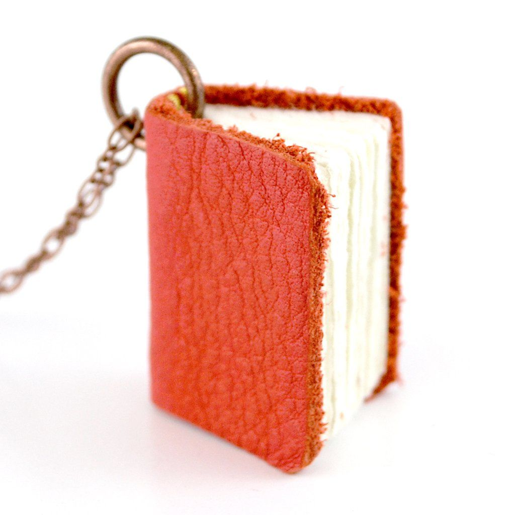 Red Leather Book Necklaces