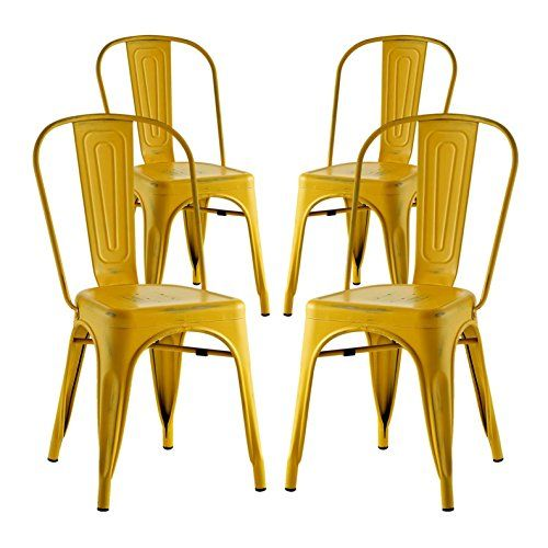 Modern Contemporary Industrial Distressed Antique Vintage Dining Chair Set Of 4 Yellow Metal Side Chairs Dining Vintage Dining Chairs Side Chairs