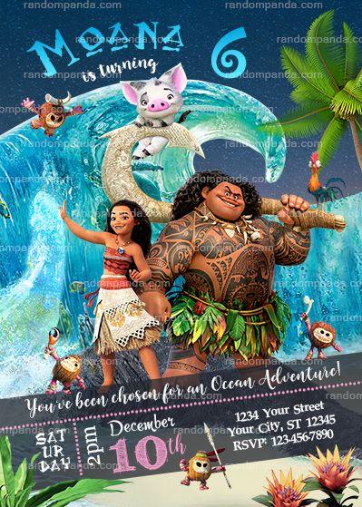 disney moana party invitation, ocean maui birthday invite, Birthday invitations