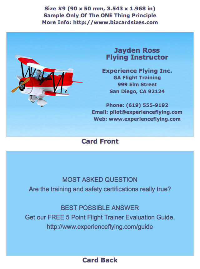 Size 9 Business Card For A Flight Instructor Learn To