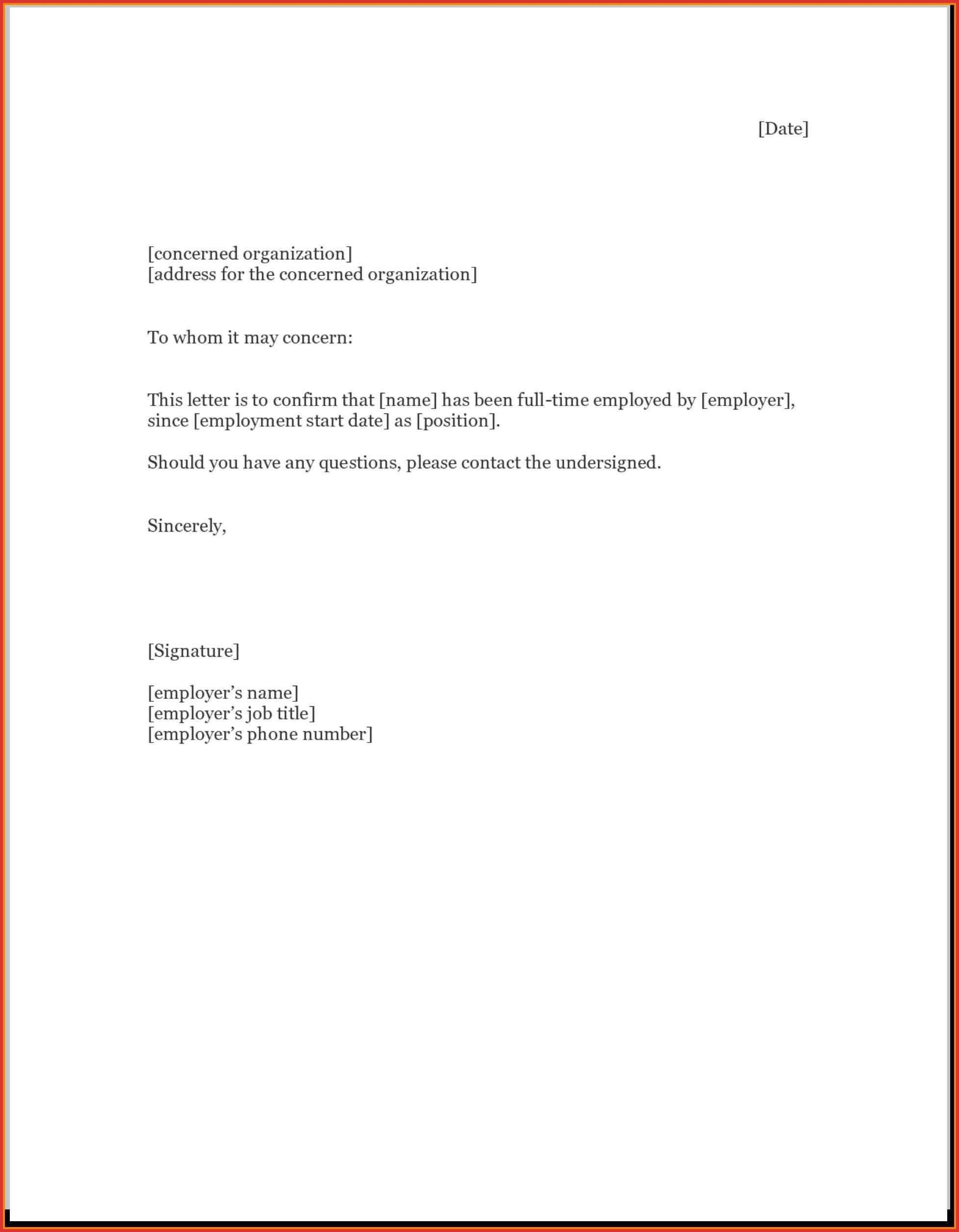 Employment Confirmation Letter Template Employment Verification Letter To Whom It May Concern Letter Of Employment Employment Letter Sample Lettering