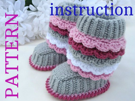 Crochet P A T T E R N Knitting Baby Booties Knitted Baby Pattern