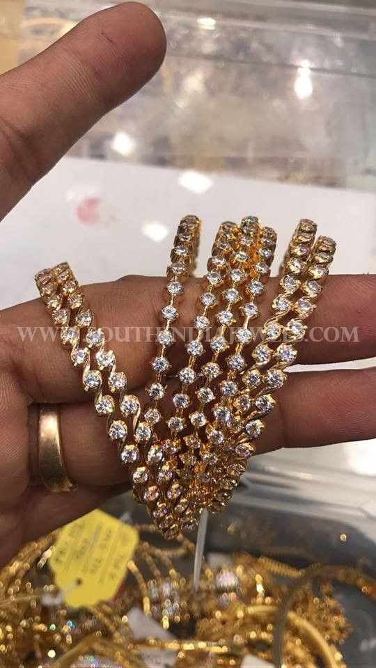 80 Grams Gold Bangles (4 Pairs) | Gold bangles, White stone and ...
