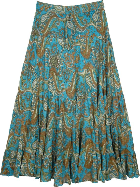 5da70983f9 Paisley Printed Summer Cotton Full Maxi Skirt for Women in Tipsy Teal  Summer Skirts, Long