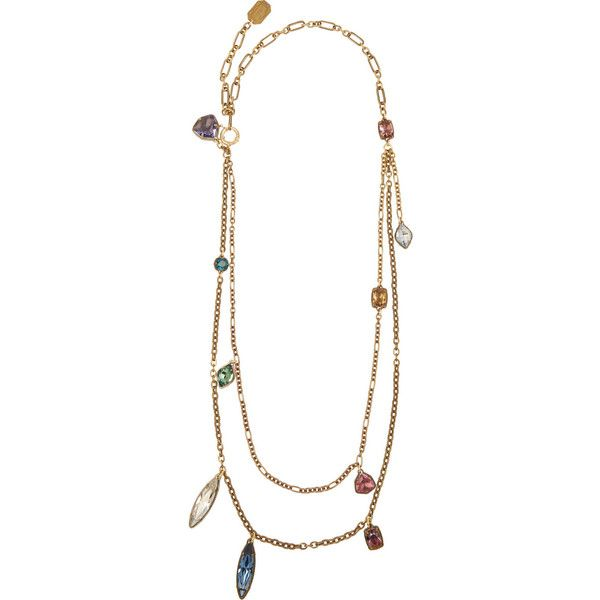Lanvin Gold-tone Swarovski crystal necklace (78,165 DOP) ❤ liked on Polyvore featuring jewelry, necklaces, gold, colorful necklace, gold tone chain necklace, chain necklace, double strand necklace and evening jewelry