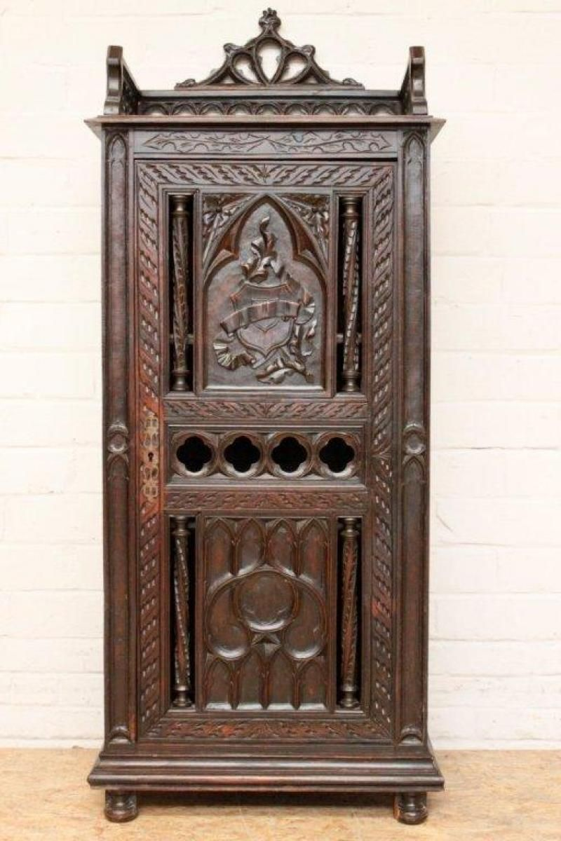 Gothic Cabinet With Great Carvings 19th Century Www.thegatz.com