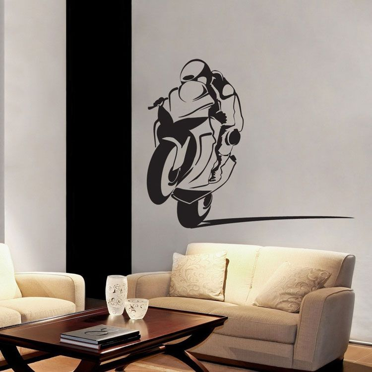 Motorcycle Racer Sportbike Power Wheelie Biker Wall Decal - Vinyl stickers for motorcyclesmotorcycle graphics motorcycle stickers motorcycle decals