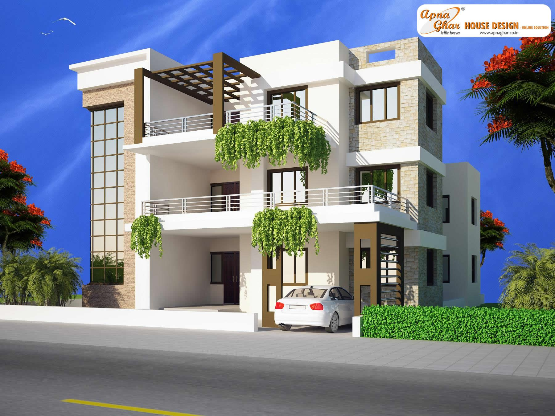 11 bedroom modern triplex 3 floor house design area for Modern triplex house plans
