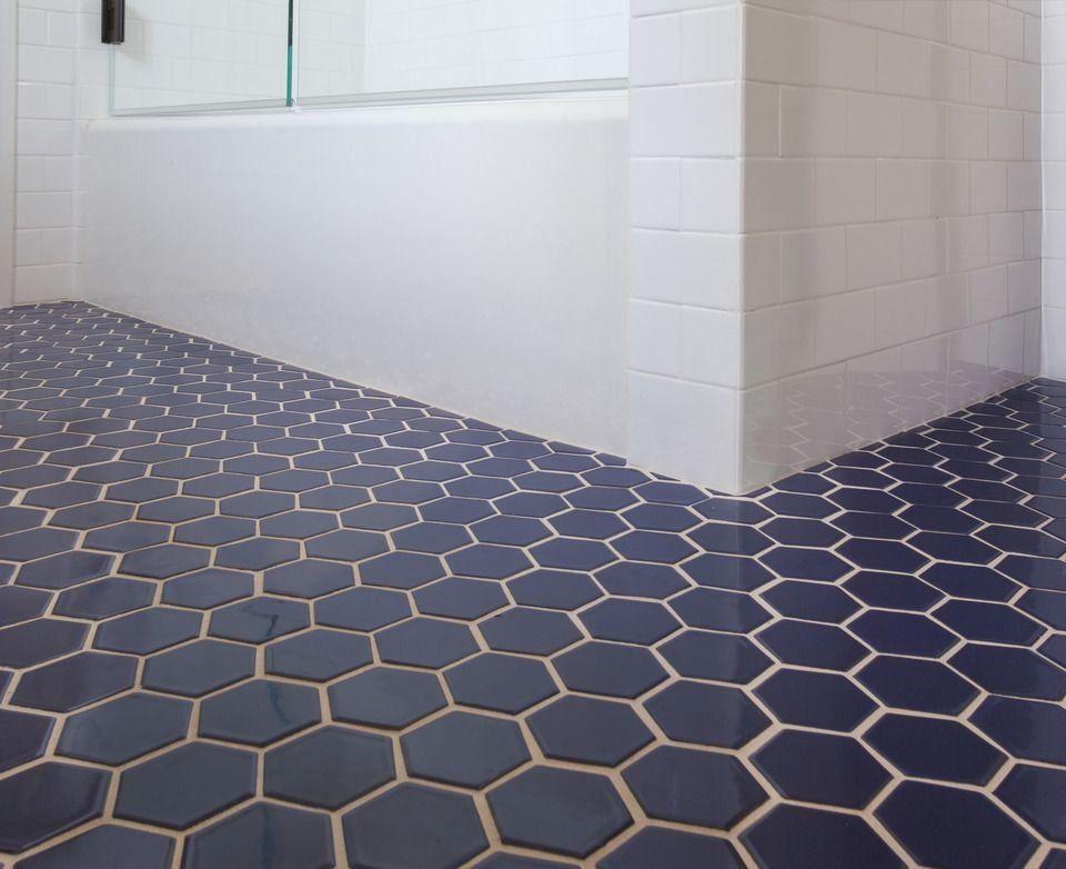 Fireclay Tile Navy Blue Hex Tile 1000 In 2020 Hexagon Tile Bathroom Floor Tile Bathroom Bathroom Floor Tiles