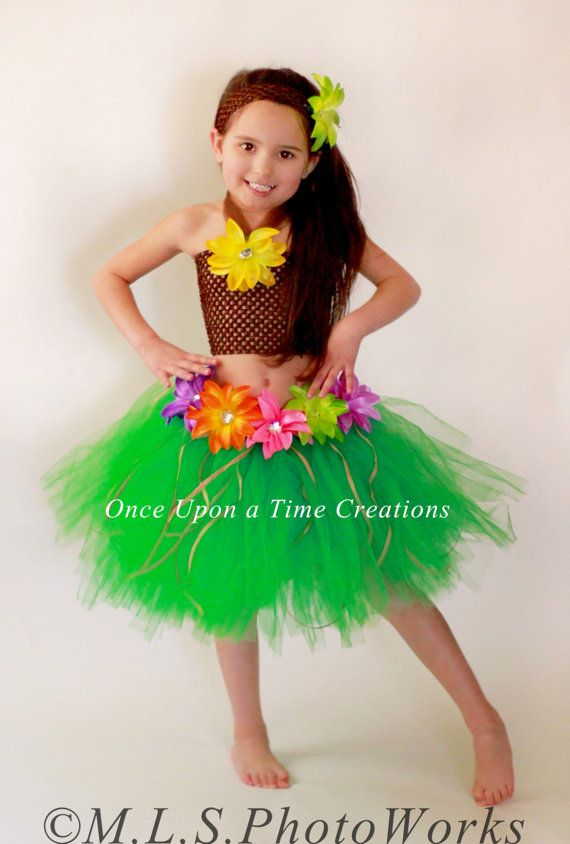 f0b8624182ab3 Luau Hawaiian Grass Hula Skirt Tutu Dress Set - Girls Size 6M 12M 2T ...