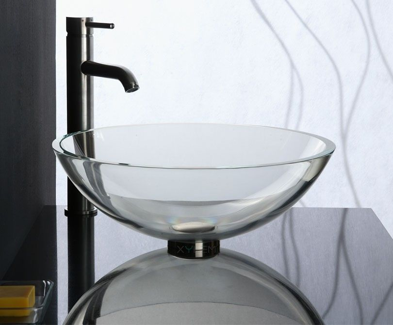 Gv101whi Crystal Clear Glass Vessel Sink Xylem Glass Vessel Sinks Vessel Sink Bathroom Sink