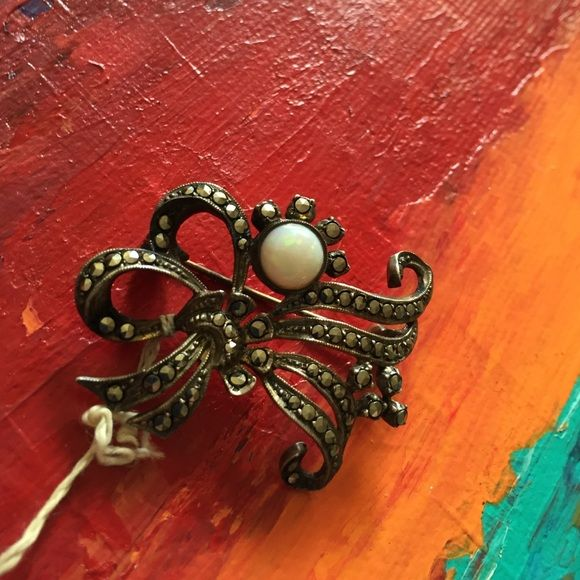 1940ies Vintage Brooche Vintage marcasite / opal/ silver 835 Brooche Jewelry Brooches