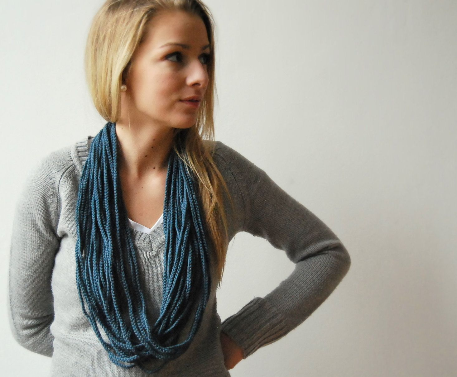 FREE SHIPPING - Crocheted Infinity Scarf in Colour of Stormy skies. $23.00, via Etsy.
