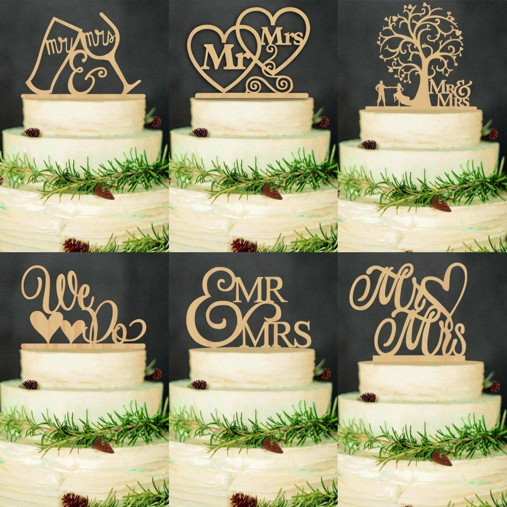 wood wedding cake topper (rustic /vintage /country themes