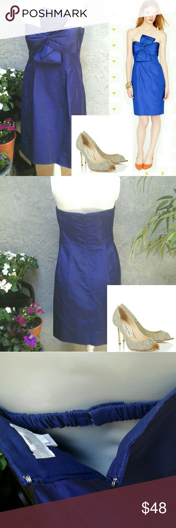 Jcrew bow monde navy silk taffeta dress sz perfect bridesmaid