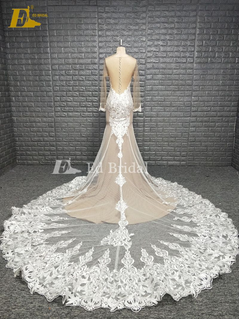 Champagne long sleeve lace hem wedding dress real sample