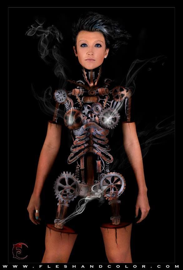 Steampunk Tendencies | Steampunk inspired body painting by Fleshandcolor New Group : Come to share, promote your art, your event, meet new people, crafters, artists, performers... https://www.facebook.com/groups/steampunktendencies