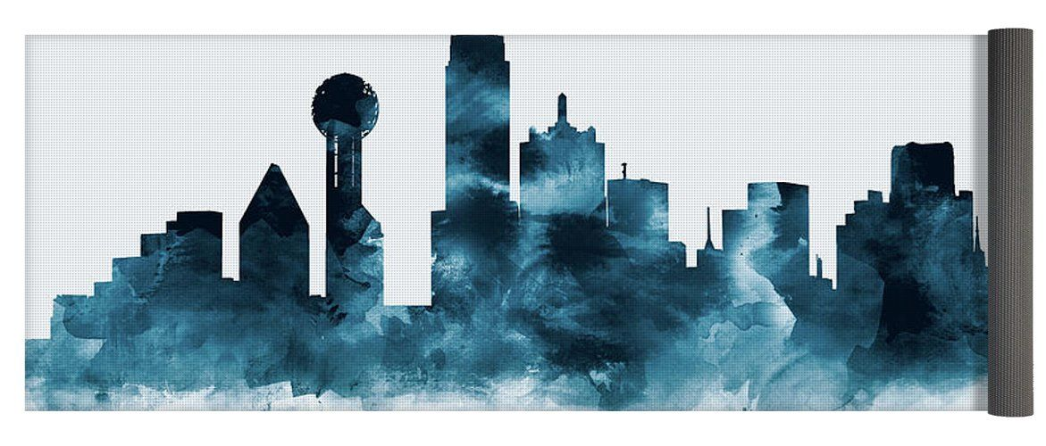 Dallas skyline yoga mat for sale by monn print dallas