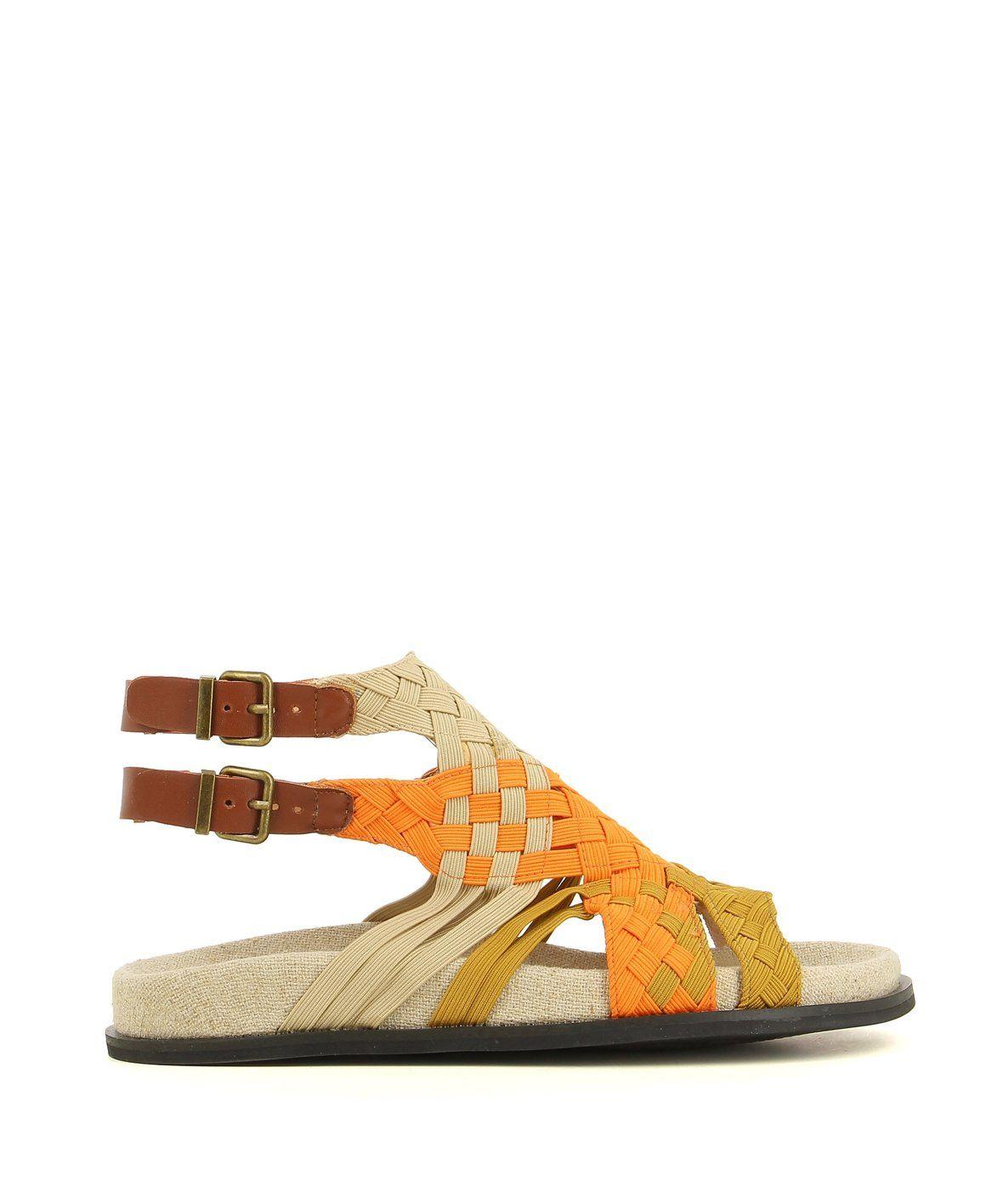 2 Baia Vista Velda Brown Multi Zomp Shoez Sandals Ankle Strap Flat Sandals