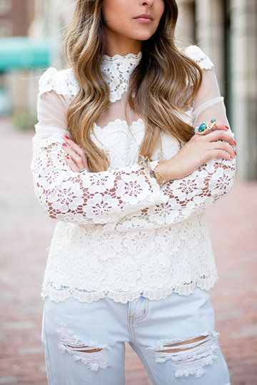 White Embroidery Hollow Lace Splicing Long Sleeves Blouse - US$19.95 -YOINS