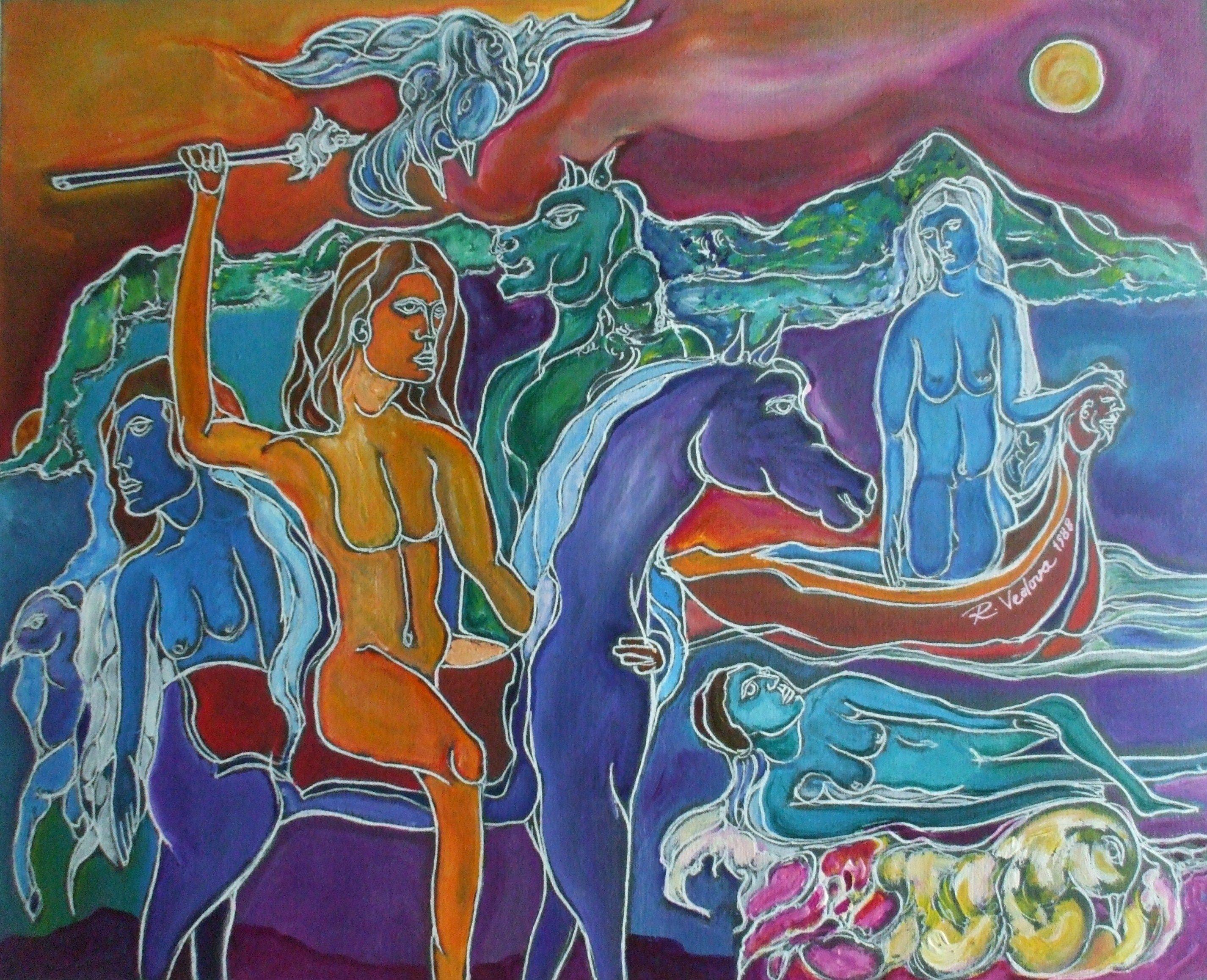 "Icaro sul cavallo viola ""cm.60x80 a.1988"""