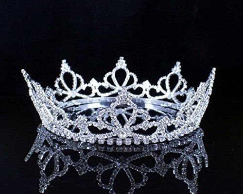 Janefashions Full Crown Clear Austrian Crystal Rhinestone Tiara Pageant Bridal Party T11888 Silver >>> Details can be found by clicking on the image.
