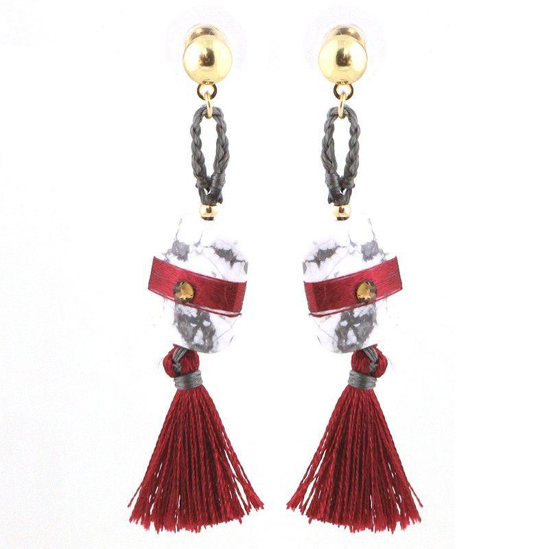 Mini Tassel with Semi Precious Stone Earrings