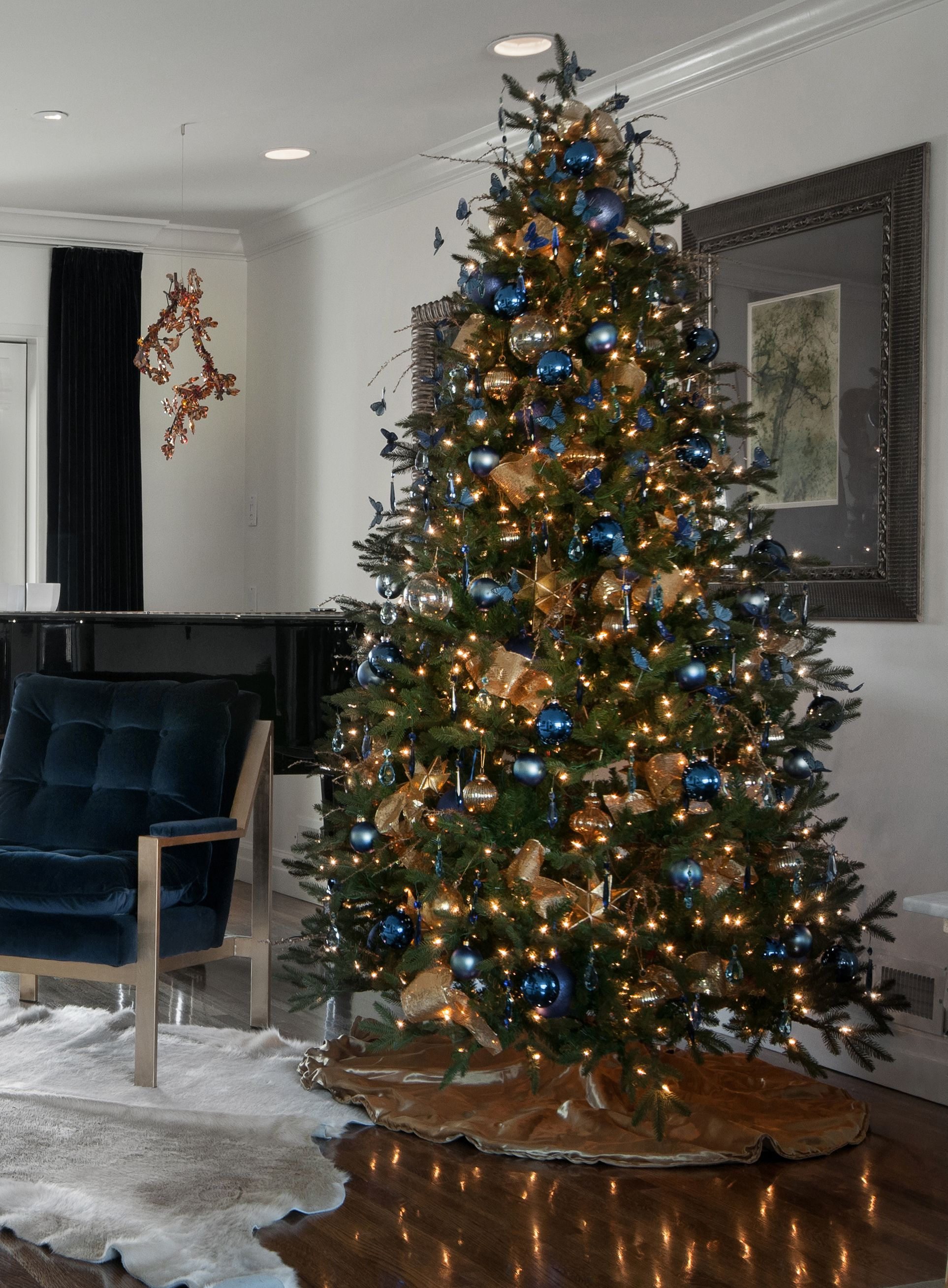 Blue And Gold Christmas Tree With Blue Butterflies