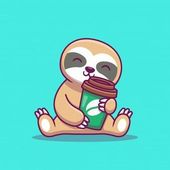 Cute Sloth With Coffee Cartoon Icon Illustration Animal Icon Concept Isolated Flat Cartoon Style Coffee Cartoon Cartoon Styles Animal Icon