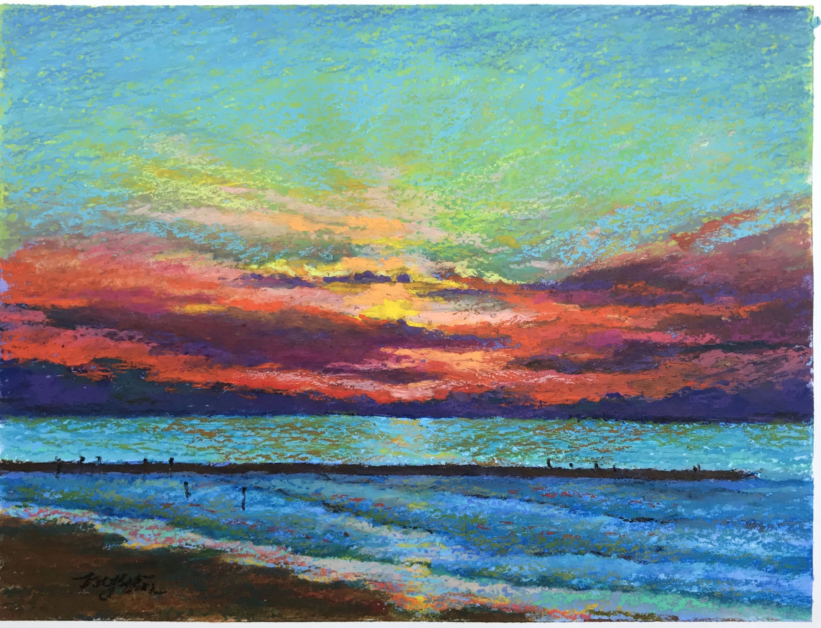 Galveston Jetty Oil Pastel Fine Art Art Oil Pastel
