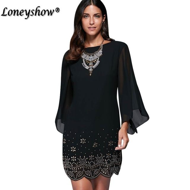 loneyshow summer dress plus size women sequined embroidery party