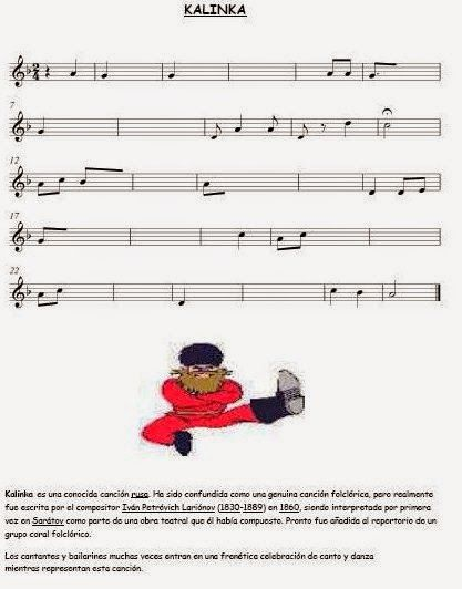 El Lenguaje Musical De Fátima Partitura Para Completar Kalinka Partituras Musical Clase De Musica