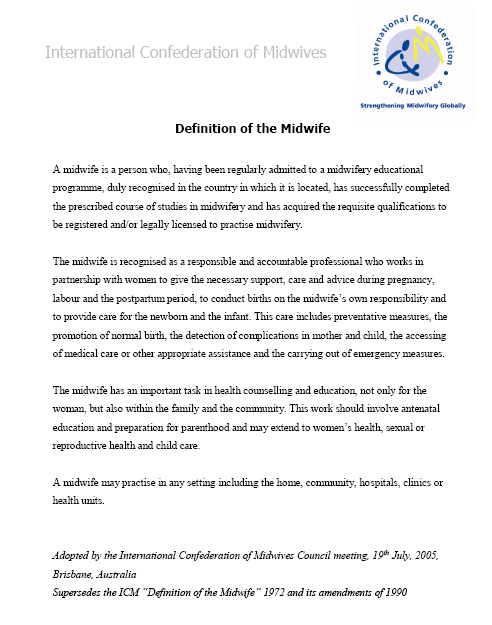 Midwife Definition Icm Quotes Educational Programs