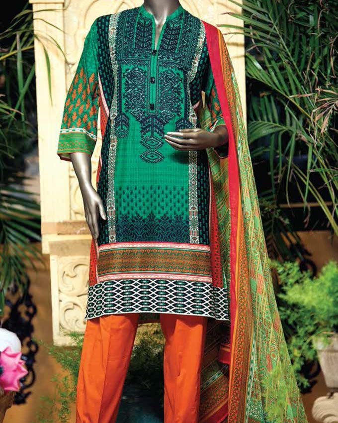 17c1290c88 Junaid Jamshed Lawn Collection Unstitched 1 Piece Shirt in Green Geomatric  S-16-082