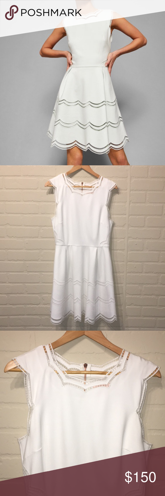 56f093a929662 Ted Baker scalloped White cammey skater dress Used once   has been dry  cleaned. Size