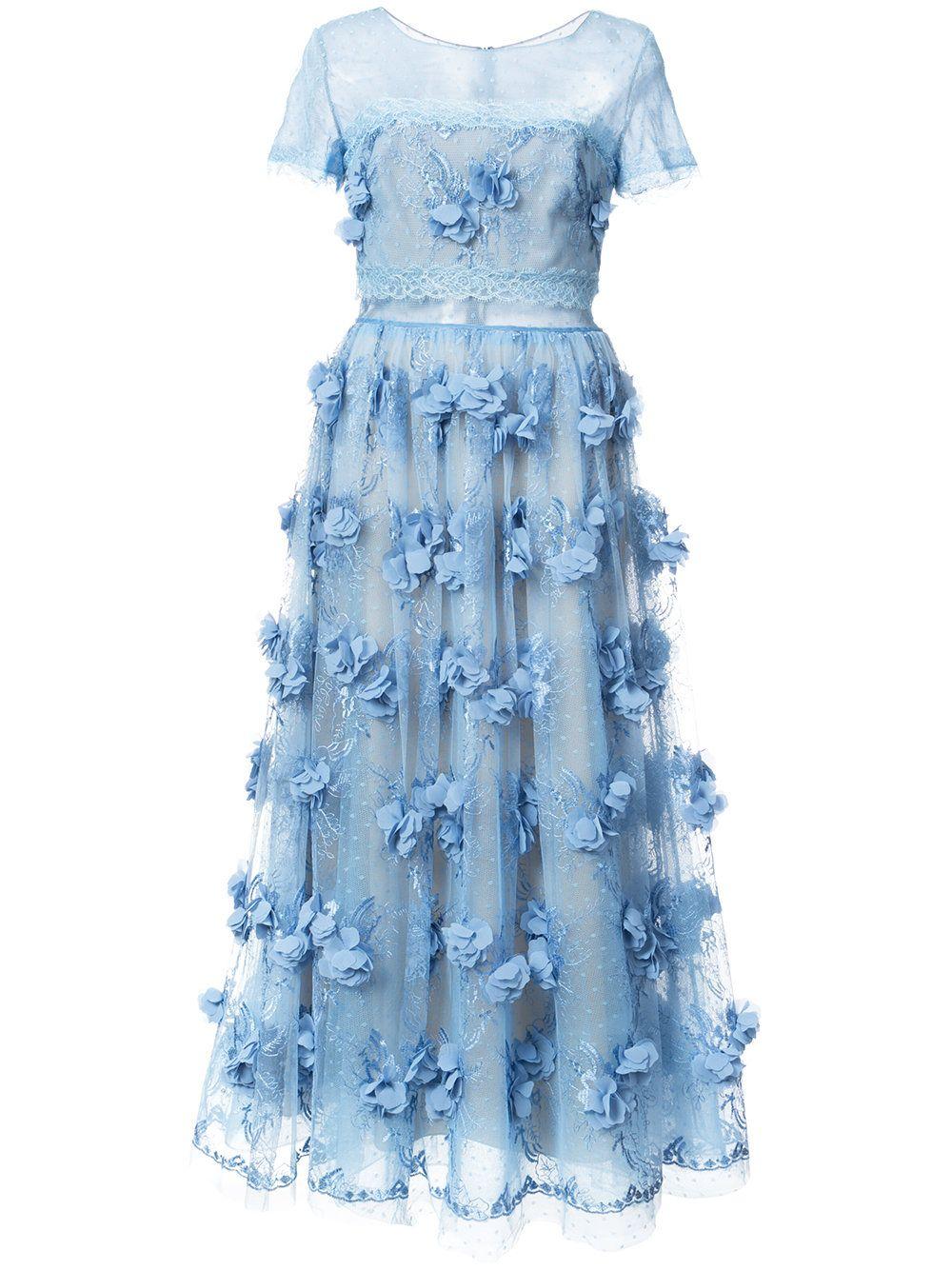 Marchesa notte vestido de festa floral marchesa dress blues and