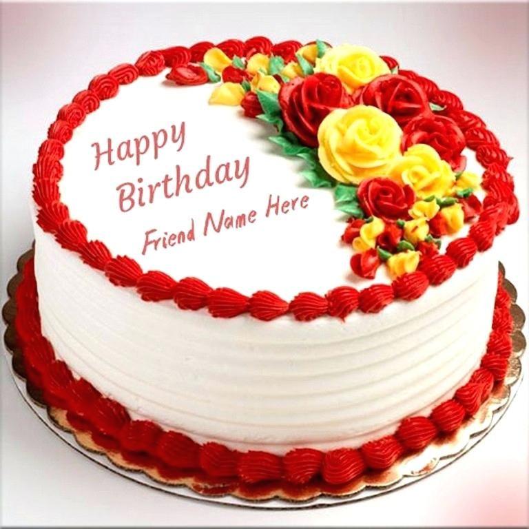 Birthday Cake With Name Edit Free Happy Birthday Flower