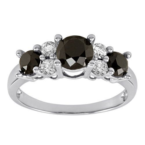10k White Gold Black And White Diamond Ring 2 Cttw Amazon Curated Collection Black Diamond Ring Engagement Black Diamond Jewelry Black Diamond Wedding Rings