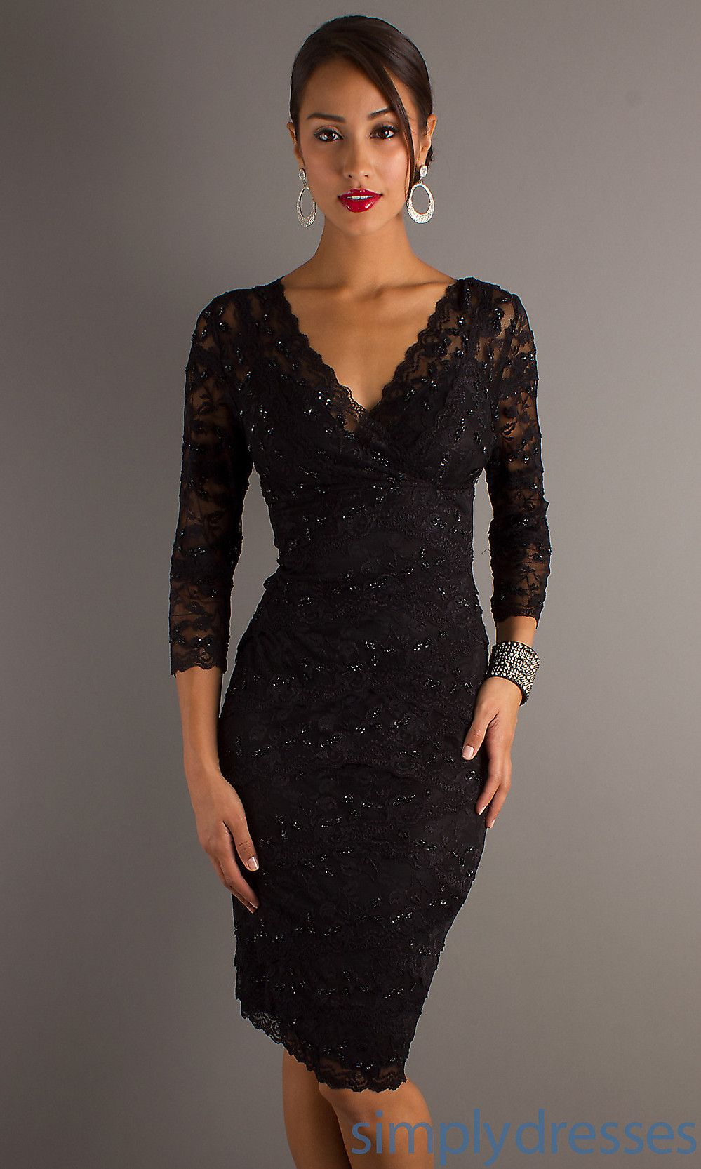 Three Quarter Sleeve V Neck Knee Length Lace Dress Party Dresses With Sleeves Black Lace Cocktail Dress Little Black Cocktail Dress [ 1666 x 999 Pixel ]