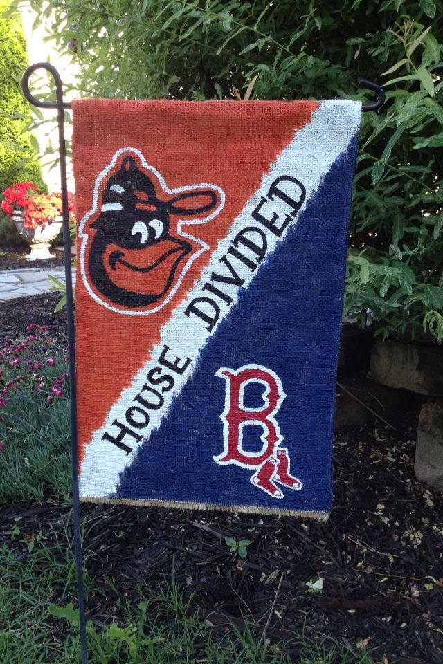 House Divided Burlap Garden Flag (Baltimore Orioles And Boston Red Sox) By  WORLEYdesigns On Etsy