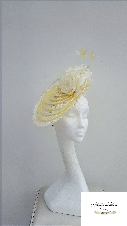 bdf7b219 Wedding Hat, Kentucky Derby, #RoyalAscotFascinator, Ladies Day #Fascinator,  Ivory Hat, #YellowFascinator by JayneAlisonMillinery on Etsy