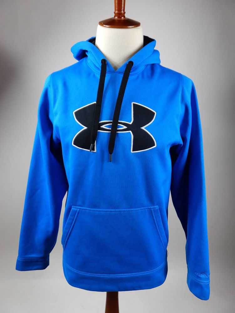 4d6c09898 Under Armour Storm Hoodie Blue Water Resisitant Wicking Sweater Men Small S  #UnderArmour #Hoodie