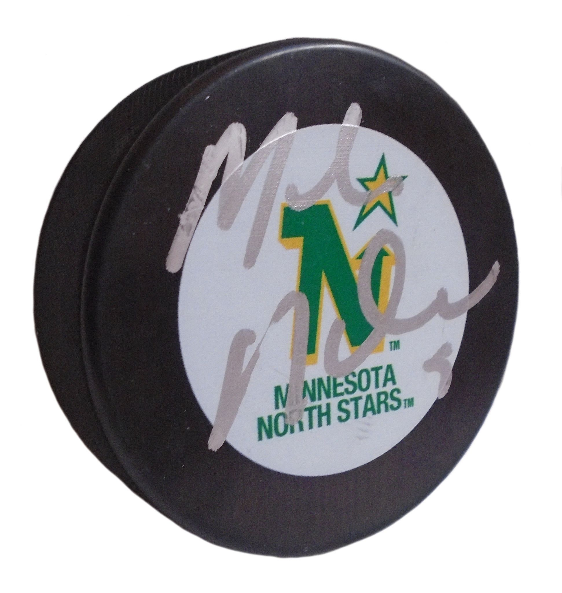 0a743fab242 Mike Modano Autographed Minnesota North Stars Logo Hockey Puck ...
