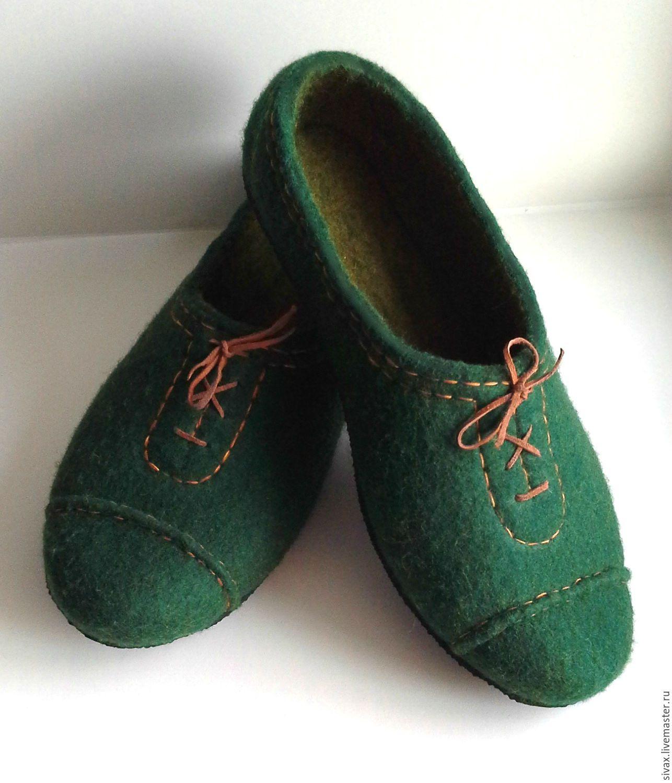 """Купить Тапки валяные мужские """"Для истинных джентльменов"""" - тёмно-зелёный, тапки мужские"""
